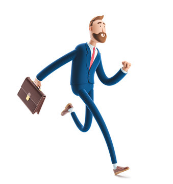 3d illustration.Businessman Billy with a case running.