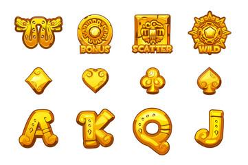 Cartoon MAYA Slots golden icons. Ancient Mexican mythology Vector symbols. Game casino, slot, UI. Set Icons on separate layers.