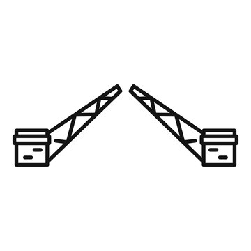 Swing bridge icon. Outline swing bridge vector icon for web design isolated on white background