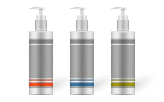 Cosmetic bottle with dispenser set, realistic mockup. Beauty product packaging container with blank label sticker, vector template