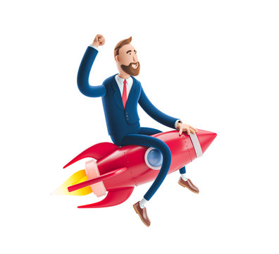 3d illustration. Businessman Billy flying on a rocket up. Concept of  business startup, launching of a new company.