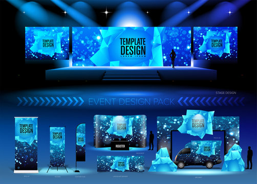A pack of 3D event design medias in vector format, with a sample of graphic template in RGB color. It is suitable for event design, event planing, concert, seminar, etc.