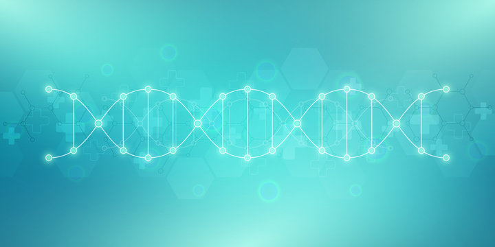 DNA strand background and genetic engineering or laboratory research. Medical technology and science concept.