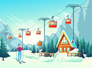 Poster Turquoise Winter vacation, active weekend leisure in mountain resort cartoon vector concept with happy smiling female tourist, woman skiing in snowy slope with cableway and small hotel or chalet illustration