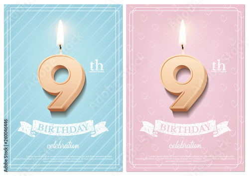 Burning Number 9 Birthday Candle With Vintage Ribbon And