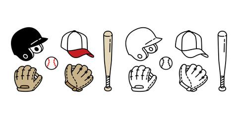 Baseball Ball icon Vector baseball bat helmet cap glove sport symbol illustration doodle