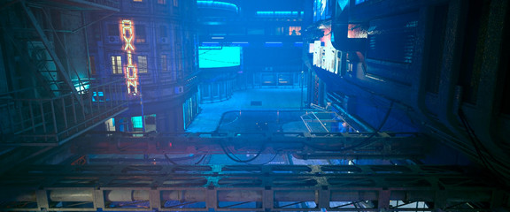 Fotomurales - Photorealistic 3d illustration of the futuristic city in the style of cyberpunk. Empty street with neon lights. Beautiful night cityscape.