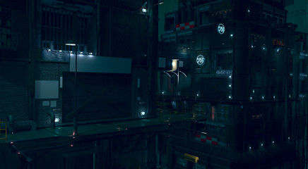Fotomurales - 3D rendering of a futuristic cityscape. Gloomy urban landscape. Dark night scene. Modern cyberpunk wallpaper.  Illustration with high attention to detail and empty space to add your content.