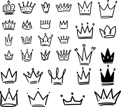 Set of crown illustrations in sketching style. Corona symbols. Tiara icons.