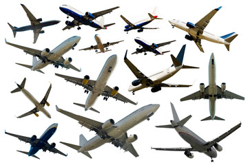 Many different planes on a clean white background