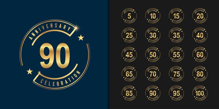 Set of anniversary logotype. Golden anniversary celebration emblem design for company profile, booklet, leaflet, magazine, brochure poster, web, invitation or greeting card.
