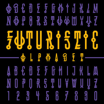 Vector of modern futuristic font and alphabet. Typography for labels, headlines, posters