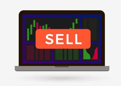Sell button on cryptocurrency candlestick chart