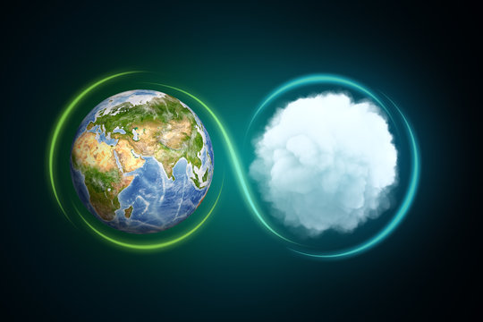 3d rendering of the Earth next to a white round fluffy cloud with a light line traced around them forming an infinity sign.