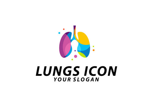 Colorful Lungs logo design concept, Health lungs logo template vector, Icon Symbol