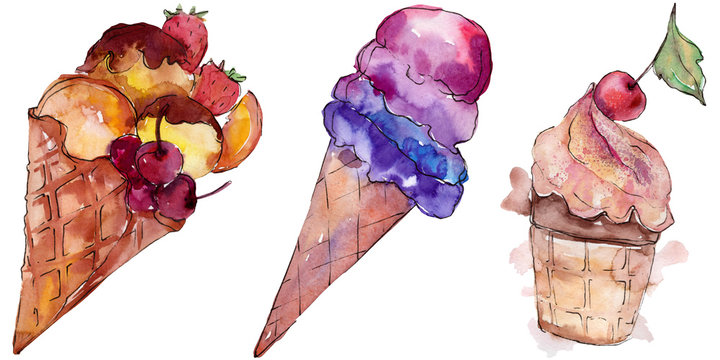 Tasty ice cream in a watercolor style. Aquarelle sweet dessert illustration set. Isolated desserts background element.