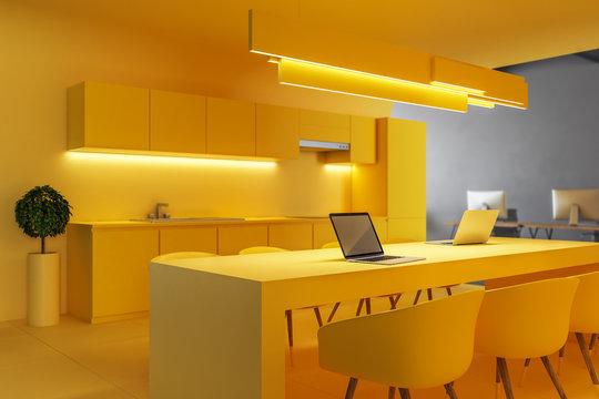 Modern yellow office kitchen