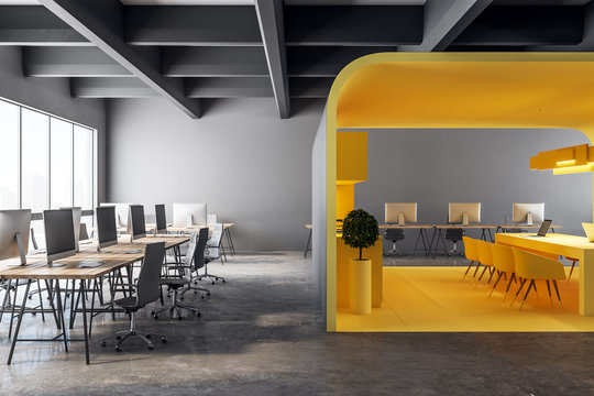 New yellow office kitchen