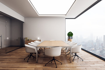 Stylish wooden conference room interior
