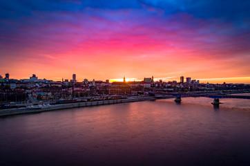 Zachód słońca nad Wisłą, Warszawa