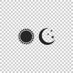Sun and moon icon isolated on transparent background. Weather daytime and night. Flat design. Vector Illustration
