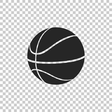 Basketball ball icon isolated on transparent background. Sport symbol. Flat design. Vector Illustration
