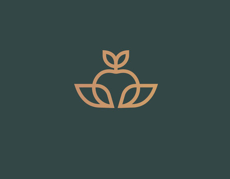 Creative linear icon logo apple plant