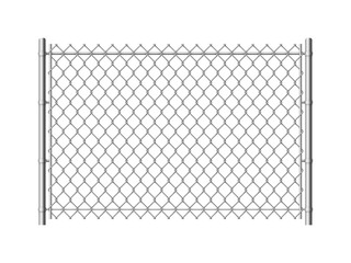 Chain link fence. Realistic metal mesh fences wire construction steel security wall industrial border metallic texture, vector pattern