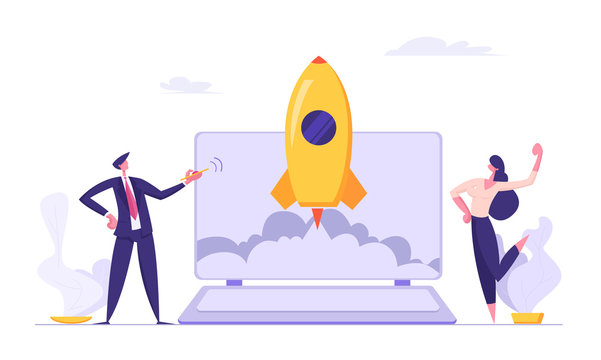 Successful Start Up Concept with Business People Characters Launches Rocket from Laptop. Space Ship Metaphor Business Startup, Teamwork E-commerce Banner. Vector Flat illustration