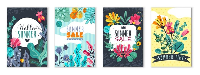 Abstract floral posters. Spring summer flower garden banner cover card invitation flyer brochure flowers wallpaper, vector template