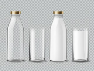Milk bottle and glass. Empty and full milk realistic bottles glasses dairy beverage product isolated vector mockup