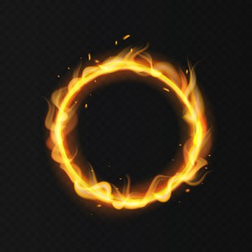 Fire ring. Realistic burning fiery circus circle hot hoop warm fire blazing effect red flaming isolated vector illustration