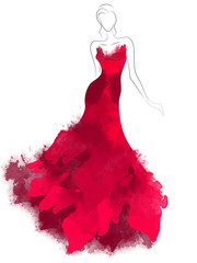 Model sketch silhouette in beautiful red dress. Fashion digital watercolor illustration