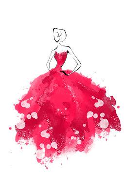 Watercolor fashion model silhouette. Fashion watercolor illustration