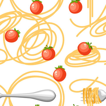 Italian food pasta Spaghetti with tomatoes. Seamless pattern. Flat vector illustration on white background. Web site page and mobile app design