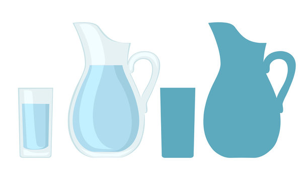 Full glass and jug of water. Flat vector design and blue silhouette. Vector illustration isolated on white background