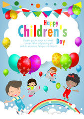 Happy children day background, children's day poster with happy kids Template for advertising brochure your text ,Vector Illustration
