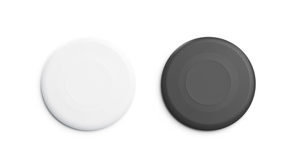 Blank black and white plastic frisbee mockup set, isolated, 3d rendering. Empty playing disc mock up, top view. Clear fall circle for leisure game template.