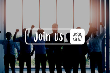 Group of business people with arms crossed in office - with Join Us word