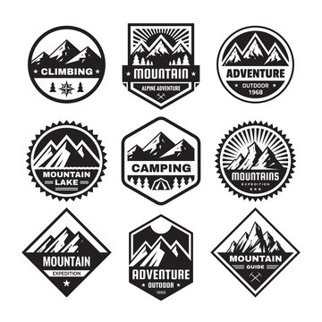 Set of adventure outdoor concept badges, camping emblem, mountain climbing logo in flat style. Exploration sticker symbol. Creative vector illustration. Graphic design in black and white colors.