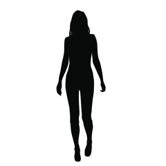 Vector silhouette woman standing, business,  people,single, black color, isolated on white background