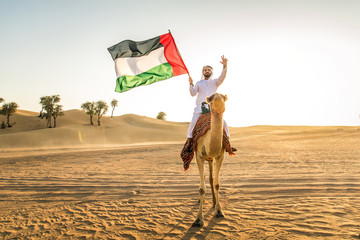 Arabian man with camel in the desert