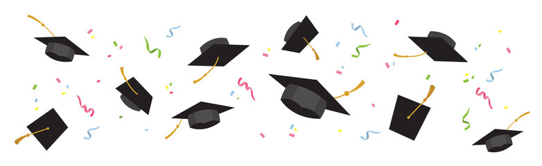 Graduating black caps up in the air on a white background-vector