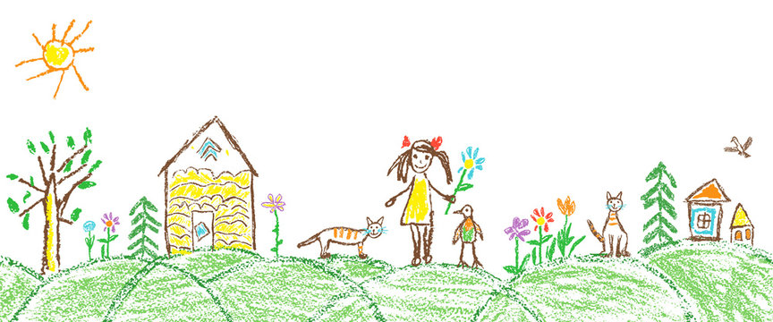 Like child hand drawing summer garden village. Crayon, pastel chalk or pencil simple funny sketch doodle girl, house, cat, kid, tree, flower, meadow, hut. Vector seamless border copy space background