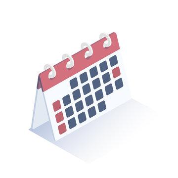 Isometric vector illustration.  Сalendar icon. Desktop calendar.  Isometric design.