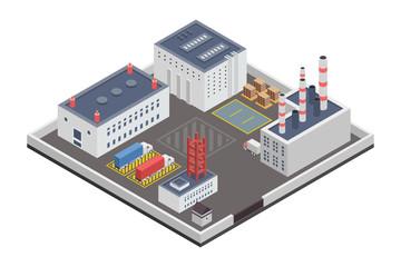 Industry Plants Factory Isometric Illustration