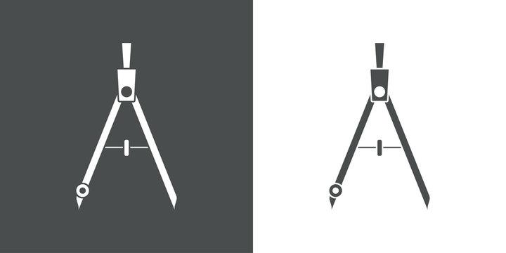 Icono plano compás en gris y blanco