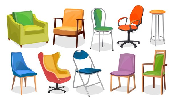 Modern chair furniture collection. Comfortable furniture for apartment interior or office. Colorful cartoon chairs set isolated on white background. Vector illustration