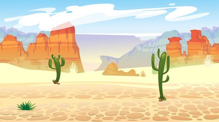 Wild west seamless pattern with mountains and cacti. Retro western background for games, ui, posters etc. Vector wild west illustration Wall mural