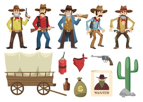 Cowboys set. Western retro people with different weapons and emotions isolated on white background. Vector wild west elements collection